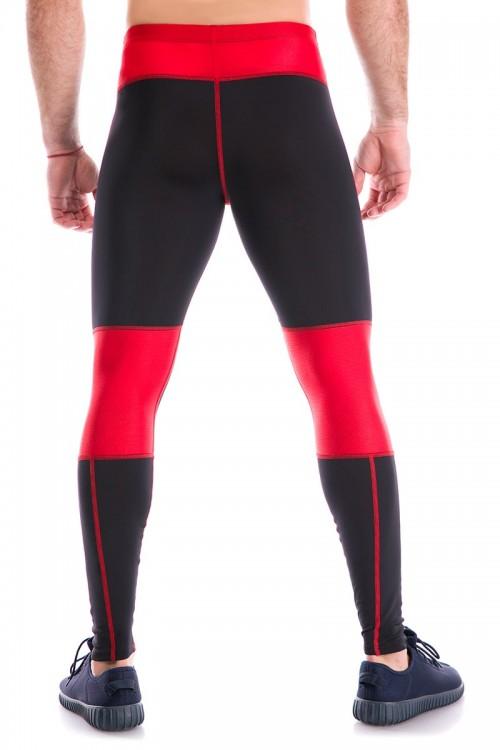 Мужские тайтсы G-2 черные с красной сеткой