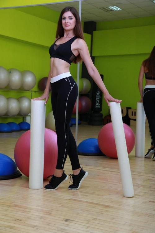 Лосины для фитнеса черные с белой полоской S11-C11